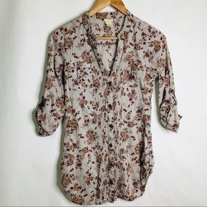 Day trip floral button up blouse